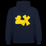 Pullover & Hoodies ~ Kontrast-Kapuzenpullover ~ Hoodie Ente mit X, gelb samtig!, hinten