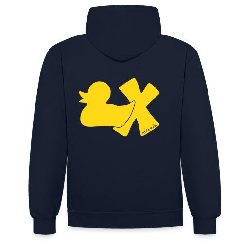 Hoodie Ente mit X, gelb samtig!, hinten - Kontrast-Hoodie