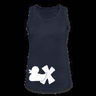 Sportbekleidung ~ Frauen Tank Top atmungsaktiv ~ TankTop Ente mit X, weiß, vorne