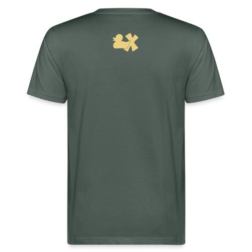 Ökotshirt mit Ente mit X, beige, hinten - Männer Bio-T-Shirt