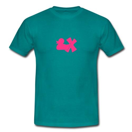 Shirt Ente mit X, neonpink, vorne - Männer T-Shirt