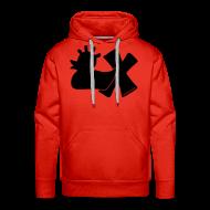 Pullover & Hoodies ~ Männer Premium Kapuzenpullover ~ Hoodie, Punkerente mit X, schwarz samtig!, vorne