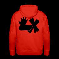Pullover & Hoodies ~ Männer Premium Kapuzenpullover ~ Hoodie, Punkerente mit X, schwarz samtig!, hinten
