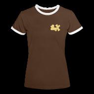 T-Shirts ~ Frauen Kontrast-T-Shirt ~ Shirt mit Ente mit X, beige, vorne