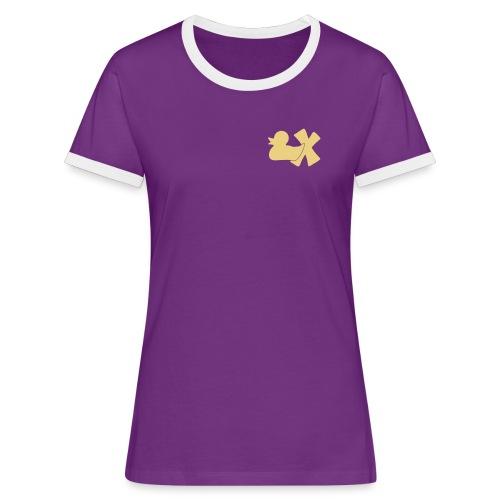 Shirt mit Ente mit X, beige, vorne - Frauen Kontrast-T-Shirt