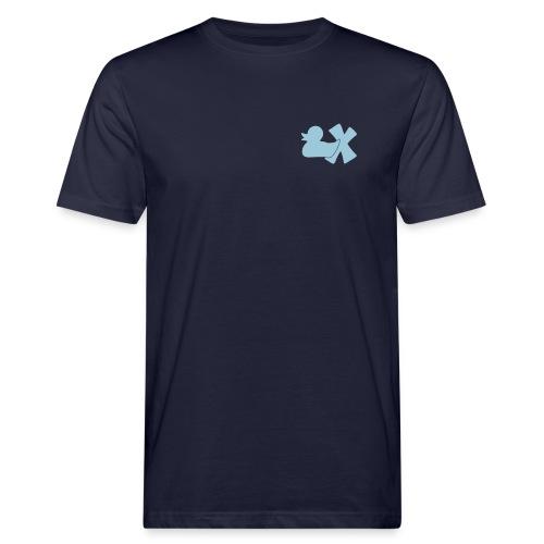 Ökotshirt mit Ente mit X, himmelblau, vorne - Männer Bio-T-Shirt