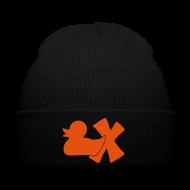 Caps & Mützen ~ Wintermütze ~ Mütze mit Ente mit X, orange samtig!