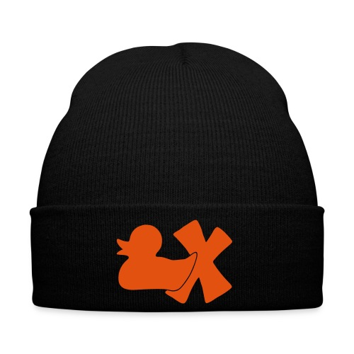 Mütze mit Ente mit X, orange samtig! - Wintermütze