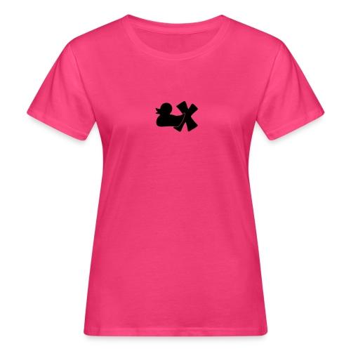 Ökotshirt mit Ente mit X, schwarz, vorne - Frauen Bio-T-Shirt