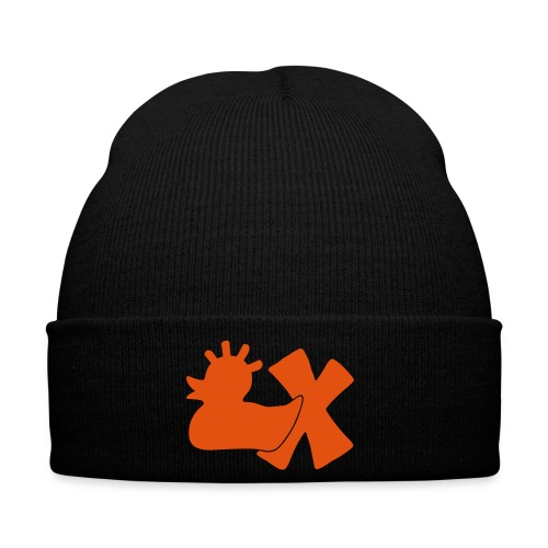 Mütze mit Punkerente mit X, orange samtig! - Wintermütze