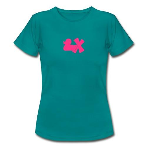 Shirt Ente mit X, neonpink, vorne - Frauen T-Shirt
