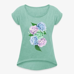 Summer Time Floral decoration by patjila - Vrouwen T-shirt met opgerolde mouwen
