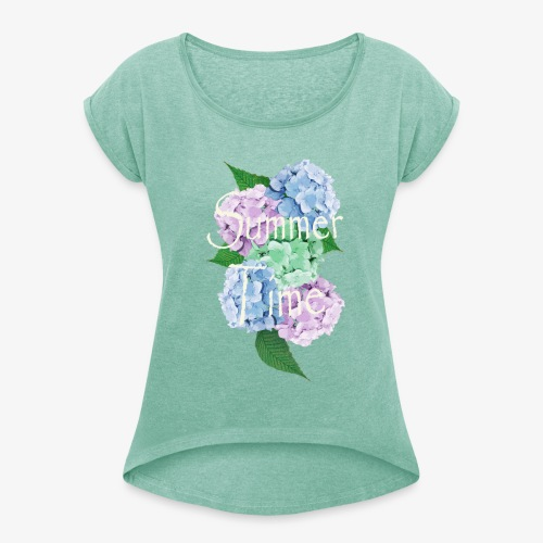 Summer Time Floral decoration by patjila - Women's T-shirt with rolled up sleeves