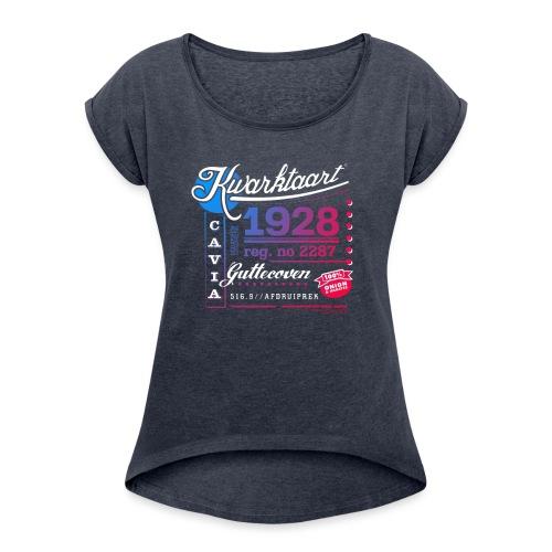 Kwarktaart vrouwen opgerolde mouwen - Vrouwen T-shirt met opgerolde mouwen