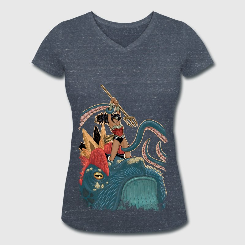 Wonder Woman Fight Dam T-Shirt - T-shirt med v-ringning dam