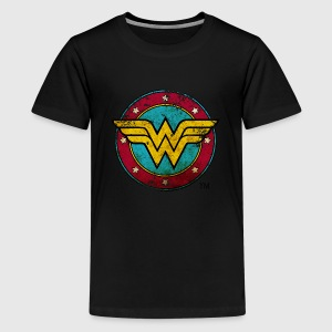 Wonder Woman Logo Distressed Teenager T-Shirt - Teenager Premium T-Shirt