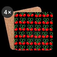 Mokken & toebehoor ~ Onderzetters (4 stuks) ~  Cherries all Over designer patjila