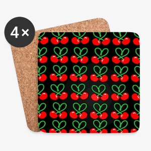 Cherries all Over designer patjila - Coasters (set of 4)
