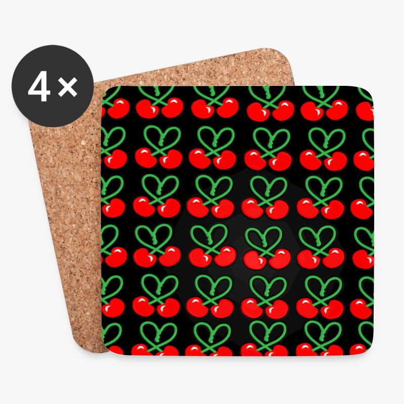 Cherries all Over designer patjila - Coasters (set of 4)