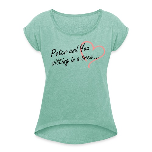 Sitting in a Tree Heart Tee - Women's T-Shirt with rolled up sleeves