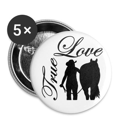 True Love/ Schwarz - Buttons mittel 32 mm (5er Pack)