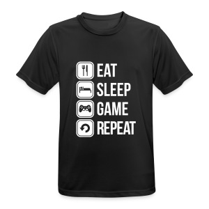 Eat Sleep Game Repeat - mannen T-shirt ademend