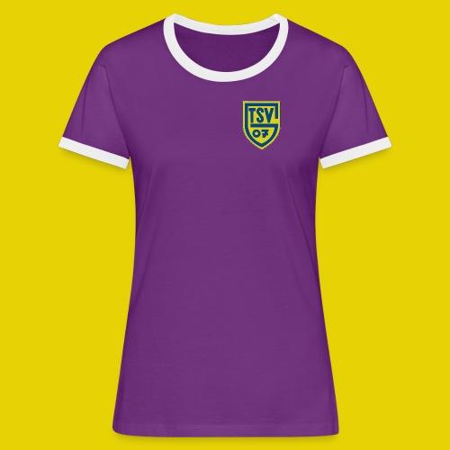 Frauenshirt mit Kontrastärmeln und farbigem Logo - Frauen Kontrast-T-Shirt