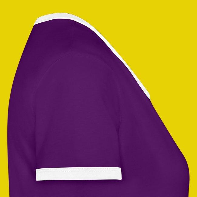 Frauenshirt mit Kontrastärmeln und farbigem Logo