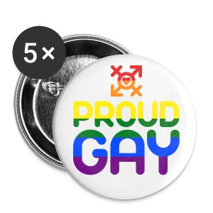 Proud Gay (bunt) - Buttons mittel 32 mm