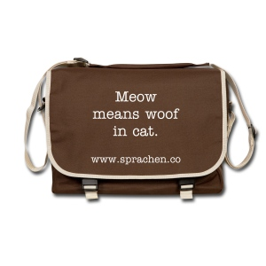 Messenger Bag Meow means woof in cat. brown - Umhängetasche