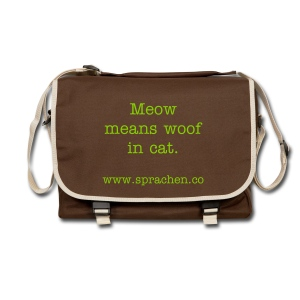 Messenger Bag Meow means woof in cat. white - Umhängetasche