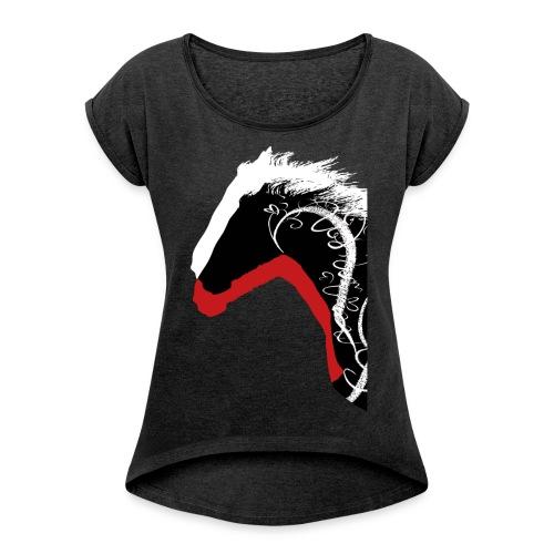Drei Pferde - Frauen T-Shirt mit gerollten Ärmeln