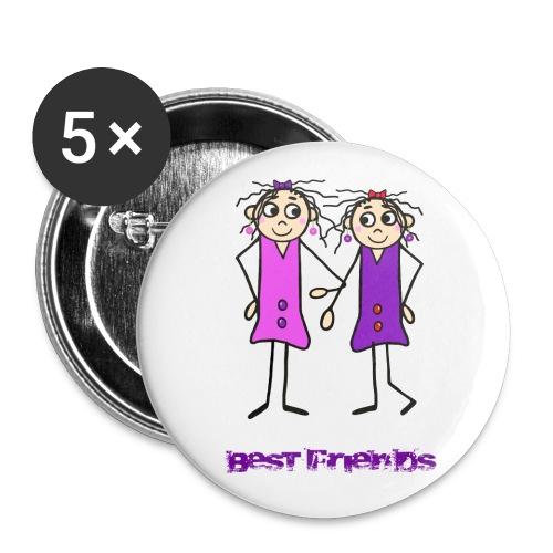 Beste Freundinnen - Buttons mittel 32 mm (5er Pack)