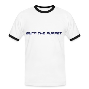Burn the Puppet White/Navy Contrast T - Men's Ringer Shirt