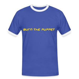 Burn the Puppet Blue/White Contrast T - Men's Ringer Shirt
