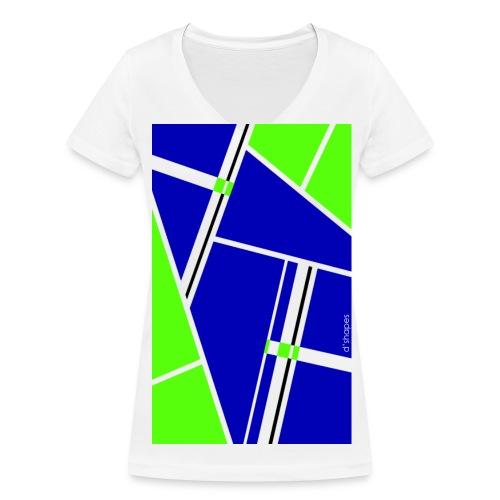 Blocks Blue/Green - Woman V T-shirt - T-shirt ecologica da donna con scollo a V di Stanley & Stella
