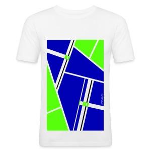 Blocks Blue/Green - Man Slim T-shirt   - Maglietta aderente da uomo