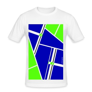 Blocks Blue/Green - Man Slim T-shirt   - Maglietta aderente da uomo
