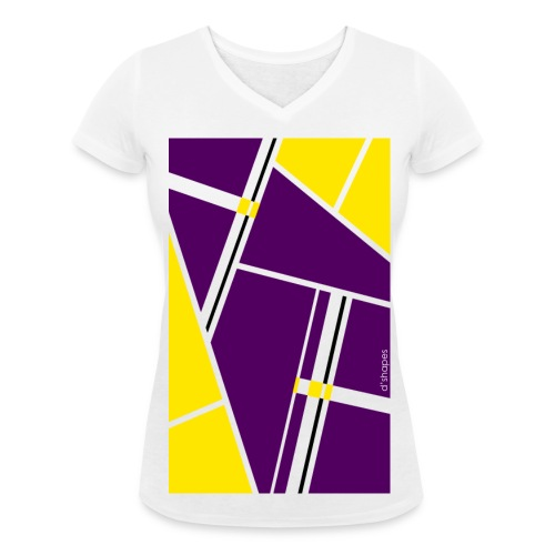 Blocks Yellow/Purple - Woman V T-shirt - T-shirt ecologica da donna con scollo a V di Stanley & Stella