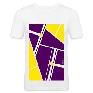 Blocks Yellow/Purple - Man Slim T-shirt   - Maglietta aderente da uomo