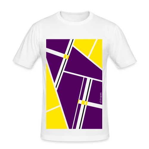 Blocks Yellow/Purple - Man Slim T-shirt   - Maglietta aderente da uomo