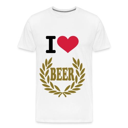 I love beer T-shirt - Herre premium T-shirt