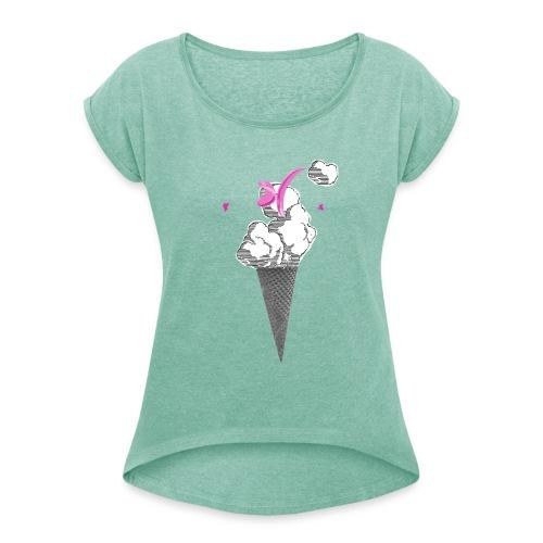 KingConeGirl - Frauen T-Shirt mit gerollten Ärmeln