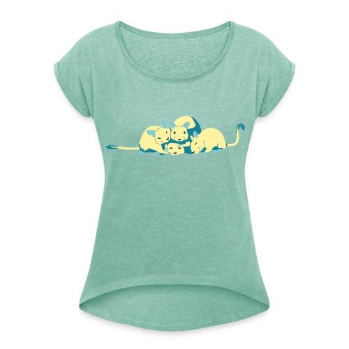 Kuschelhaufen (ohne Text) - Frauen T-Shirt mit gerollten Ärmeln
