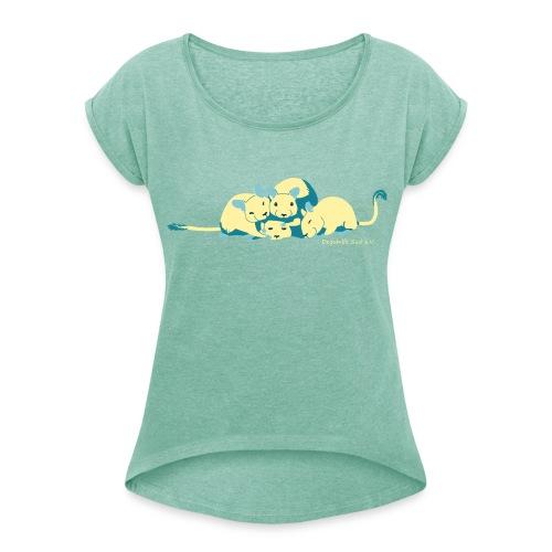 Kuschelhaufen - DHS  - Frauen T-Shirt mit gerollten Ärmeln