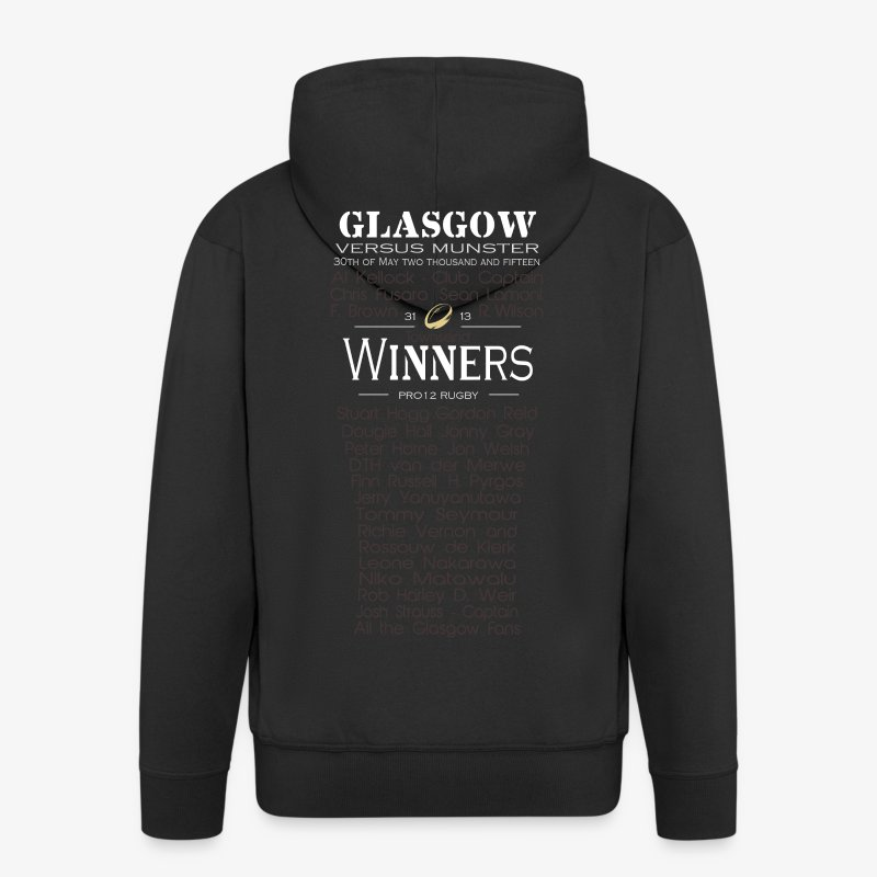 Glasgow PRO12 Winners Glass - Men's Premium Hooded Jacket