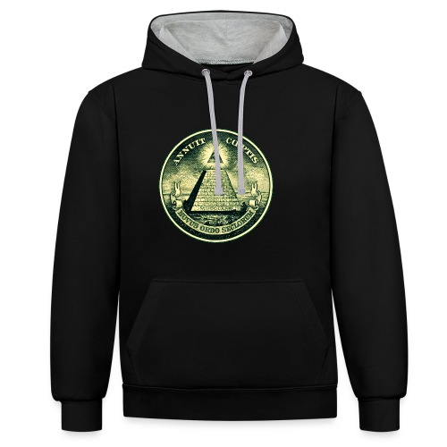 All Seeing Eye for him and her - Contrast hoodie