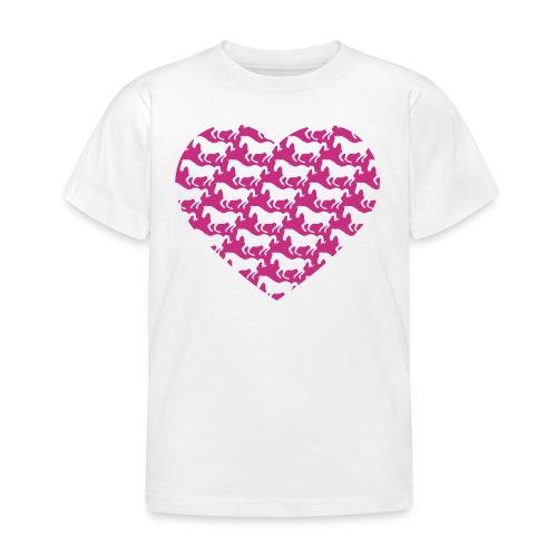 Pferde /  Herz / pink - Kinder T-Shirt