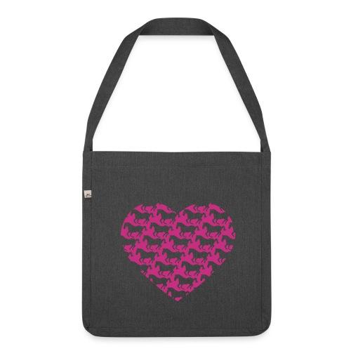 Pferde /  Herz / pink - Schultertasche aus Recycling-Material