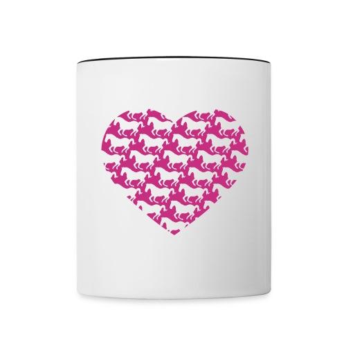 Pferde /  Herz / pink - Tasse zweifarbig